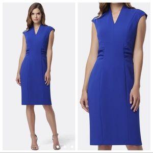 Tahari royal blue crepe cap sleeve sheath dress